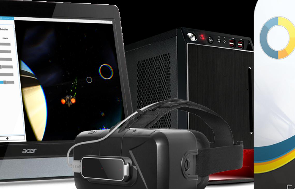 The Vivid Vision for Amblyopia bundle. Comes with a top of the line mini ITX desktop computer, touchscreen monitor, Oculus Rift virtual reality HMD, xbox controller, leap motion controller, and more!